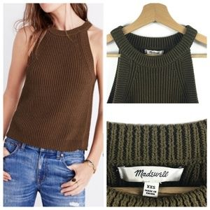 Madewell Knit Valley Sweater Tank in Olive Green